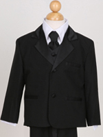 Boy Black Tuxedo Suit With Tie