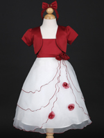 Apple Red Holiday Girl Dress With Bolero