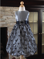 Silver Christmas Holiday Taffeta Girl Dress