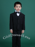Boy Black Tuxedo Suit With Bow Tie