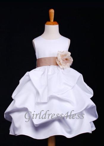 791c0b411 F11 White Full Satin Pick-Up Flower Girl Dress