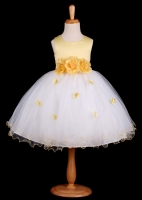 Yellow Flower Petals Dress With Ruffled Hem