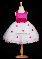 Fuchsia Flower Petals Dress With Ruffled Hem