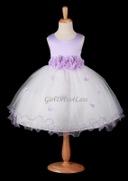 Lilac Flower Petals Dress With Ruffled Hem