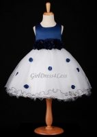 Navy Flower Petals Dress With Ruffled Hem