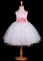 Pink Flower Petals Dress With Ruffled Hem