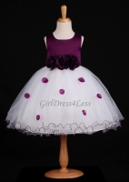Plum Flower Petals Dress With Ruffled Hem