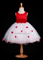 True Red Flower Petals Dress With Ruffled Hem