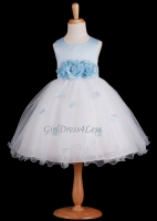 Light Blue Flower Petals Dress With Ruffled Hem