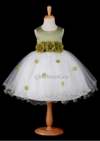 Sage Green Flower Petals Dress With Ruffled Hem