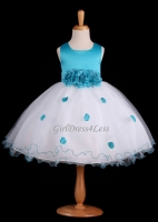 Turquoise Flower Petals Dress With Ruffled Hem