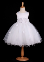 White Flower Petals Dress With Ruffled Hem